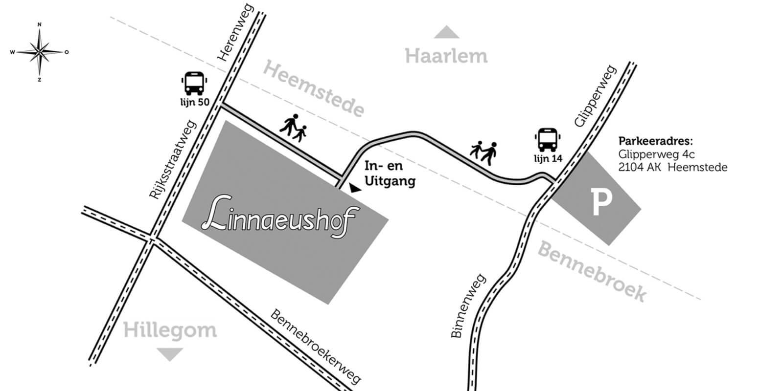 Plattegrond route linnaeushof